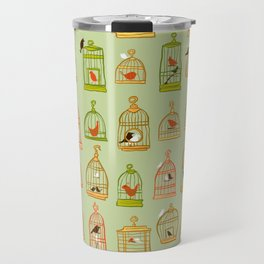 Bird Cages on Green Travel Mug