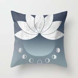 Phases of the Moon and Flowers Throw Pillow