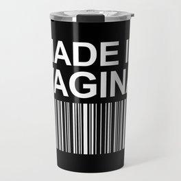 MADE IN VAGINA BABY FUNNY BARCODE (Black & White) Travel Mug