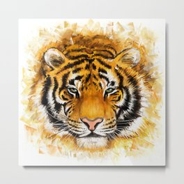 Artistic Tiger Face Metal Print