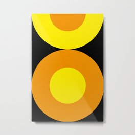 Two suns, one yellow with orange rays,the other orange with yellow rays,both floating in a black sky Metal Print