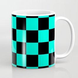 Black and Aqua Checkerboard Pattern Coffee Mug