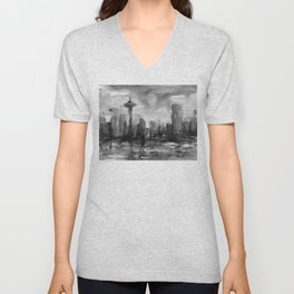Seattle Skyline Painting Watercolor Black and White Space Needle Unisex V-Neck