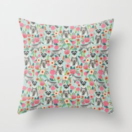 Schnauzer floral must have dog breed gifts for schnauzers owners florals Throw Pillow