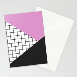 Geometry: black, pink and squres Stationery Cards