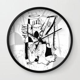 Guardian Angel - b&w Wall Clock