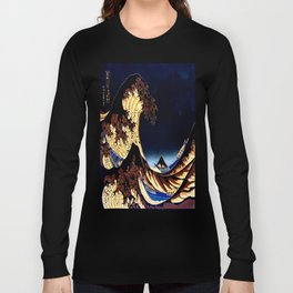 The GREAT Wave Midnight Blue Brown Long Sleeve T-shirt