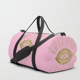 Evil Eye Gold on Pink #1 #drawing #decor #art #society6 Duffle Bag