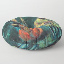 Singer and double bass jazz musicians at night Floor Pillow