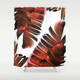 Banana Leaf - Tropical Leaf Print - Botanical Art - Modern Abstract - Brown, Copper, Red Shower Curtain