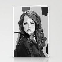 emma stone Stationery Cards featuring Emma Stone by Vito Fabrizio Brugnola