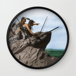 Watching The Herd - American Indians Wall Clock