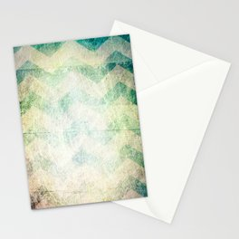 grunge chevron stripes teal green blue Stationery Cards