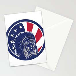 Native American Indian Chief USA Flag Icon Stationery Cards
