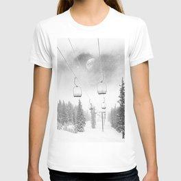 Ski Lift Moon Break // Riding the Mountain at Copper Colorado Luna Sky Peeking Foggy Clouds T-shirt