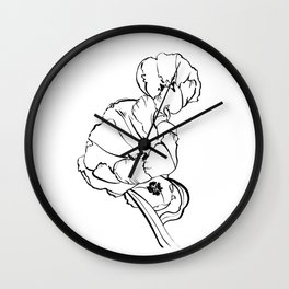 Tulips Ink Drawing Wall Clock