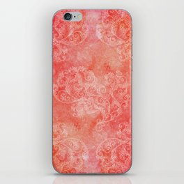 Coral grunge with white floral ornament iPhone Skin