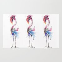 flamingo Area & Throw Rugs featuring flamingo by tatiana-teni