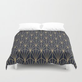 Art Deco Vector in Blue and Gold Duvet Cover