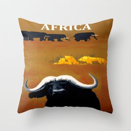 Vintage Africa Travel - Water Buffalo Throw Pillow