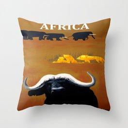 Vintage Africa Travel - Water Buffalo Throw Pillow