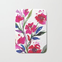 POCKETFUL OF POSIES 1, Colorful Summer Watercolor Floral Painting Abstract Red Blue Pink Flowers Art Bath Mat