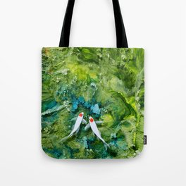 Goldfish on colorful background Tote Bag