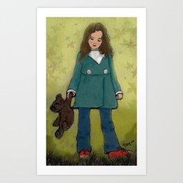 Girl and her Teddy Art Print