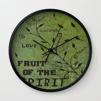 religious Wall Clocks featuring Faith Religious Art---Fruit of the Spirit---Bible Scripture Galations 5:22 by Saribelle rodriguez by Saribelle Inspirational Art