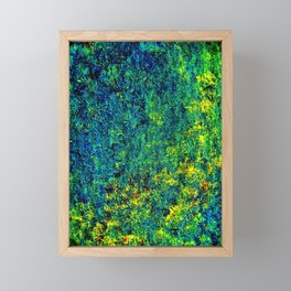 Abstract Flowers Yellow And Green Framed Mini Art Print