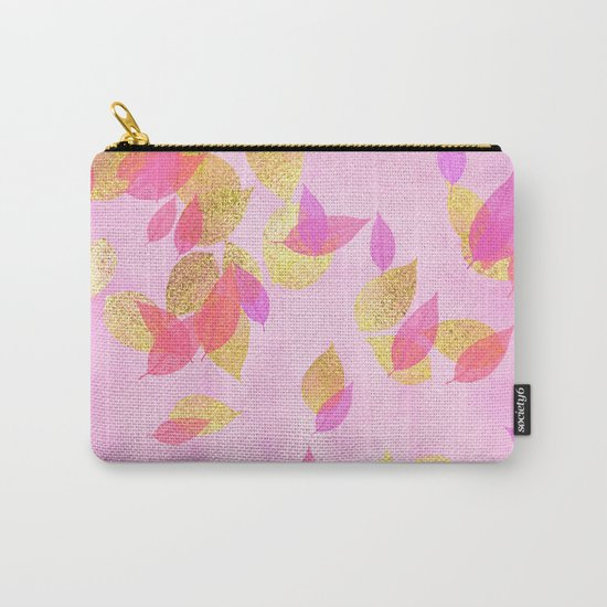 Autumn-world 5 - gold glitter leaves on pink background on #Society6 Carry-All Pouch