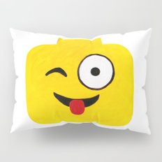 Winking Smile - Emoji Minifigure Painting Pillow Sham