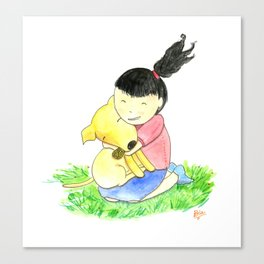 Bia and Little Bread Hugging Canvas Print