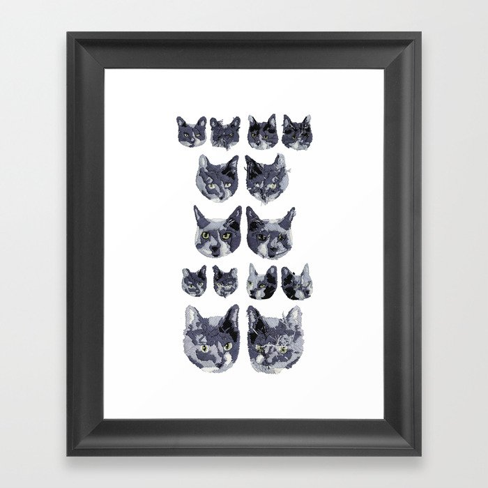 Cat Embroidery Framed Art Print