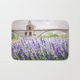 Lavenders Field and Bridge in Avignon Bath Mat