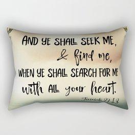 Seek God with your whole Heart KJV Bible Verse Rectangular Pillow