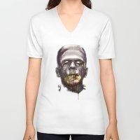 frankenstein V-neck T-shirts featuring Frankenstein by beart24