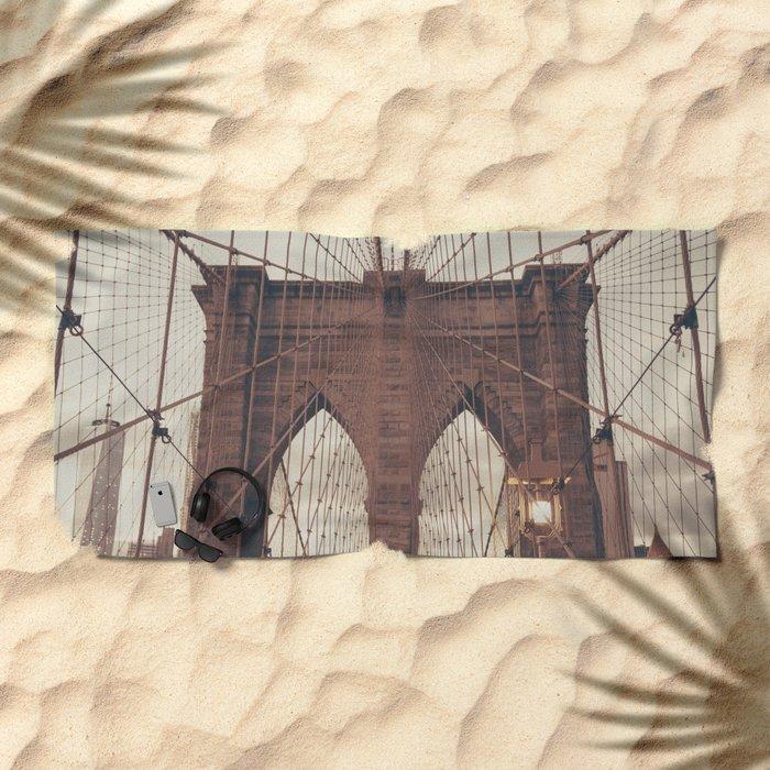 Moody Brooklyn Bridge Beach Towel