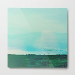 Astract Modern Landscape Wall Art Green and Blue Color Block Metal Print