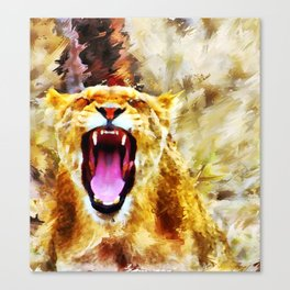 Yawning Lioness Canvas Print