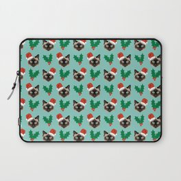 Siamese Cat cute christmas gift santa hat pattern mistletoe and holly wreath cats cute kitten gift  Laptop Sleeve