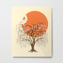 weeping willow, pelican and sun Metal Print
