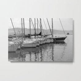 Yachts in a Row Metal Print