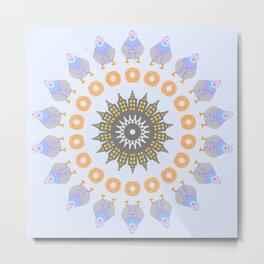 City Pigeon Mandala Design Metal Print