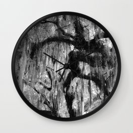Oak and Moss in Black and White, Study 1 Wall Clock