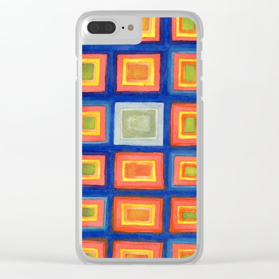 Square Pattern Beaming with Luminous Color Clear iPhone Case