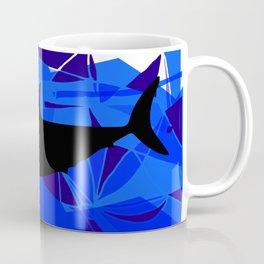 Shark art Geometric art Blue sea ocean art Triangles art Coffee Mug
