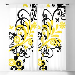 Butterfly Flourish YELLOW Blackout Curtain
