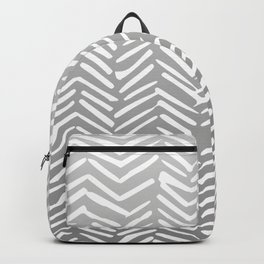 Geometric Art, Herringbone, Mudcloth, Gray and White, Boho Art Backpack