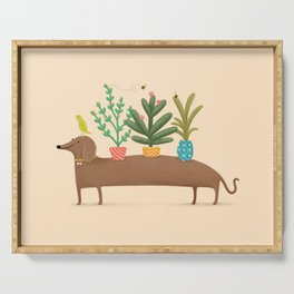 Dachshund & Parrot Serving Tray